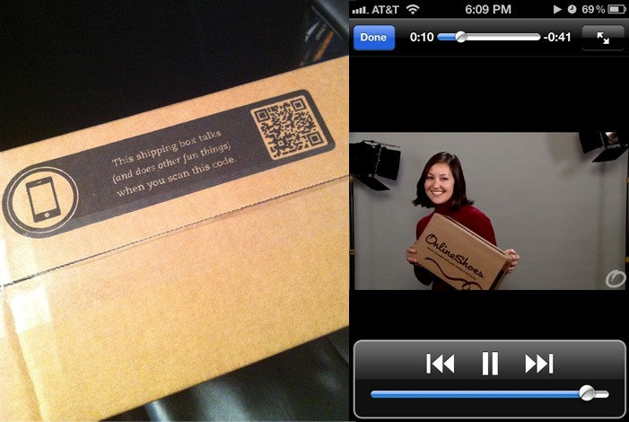online shoes box with a qr code and on the side a video of a smiling girl holding the box